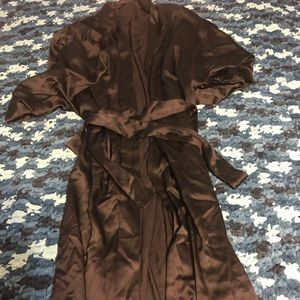 Victoria's Secret Black Silk Robe&Glitter Slippers